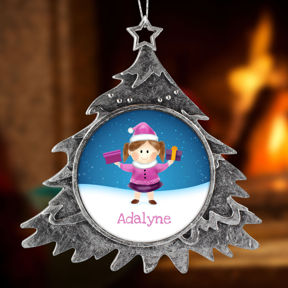 Personalized Christmas Ornament, Girl Name
