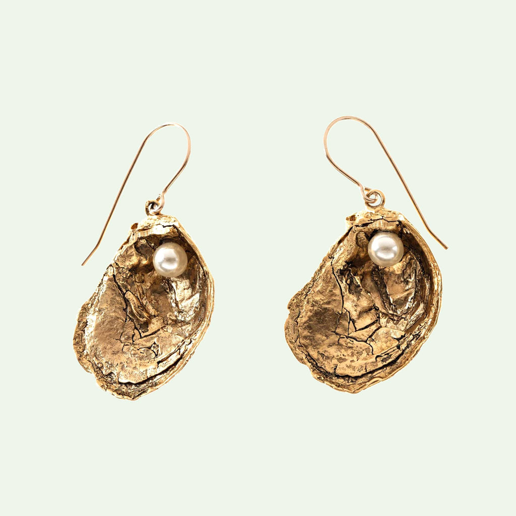 "Oyster Shell with ""Pearl"" Earrings"