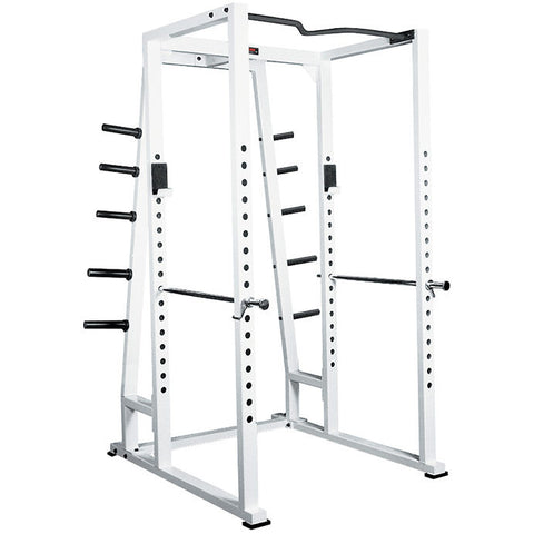 York Barbell Power Rack With Weight Storage - White