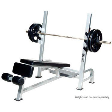York Barbell Olympic Decline Bench With Gun Racks - White - Strength Fitness Outlet