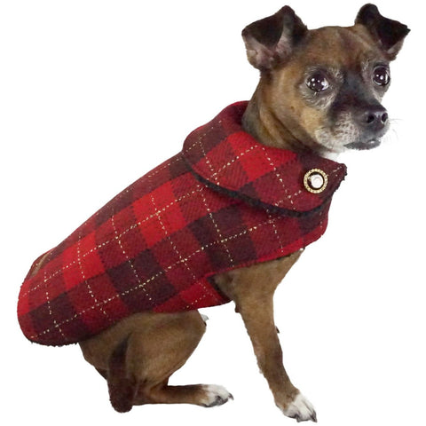 Bella Poochy Sherpa Lined Coat - Limited Edition Holiday Plaid Dog Coat With 24K Gold Buttons - Lavish Pets