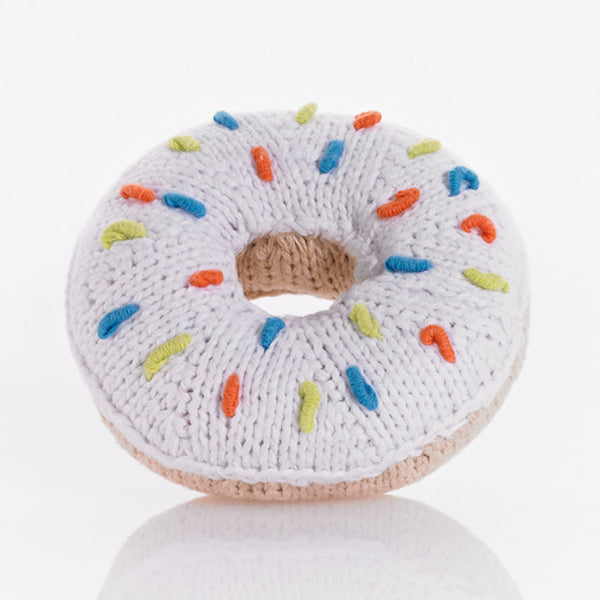 Pebble Donut Rattle Pink, Yellow, White