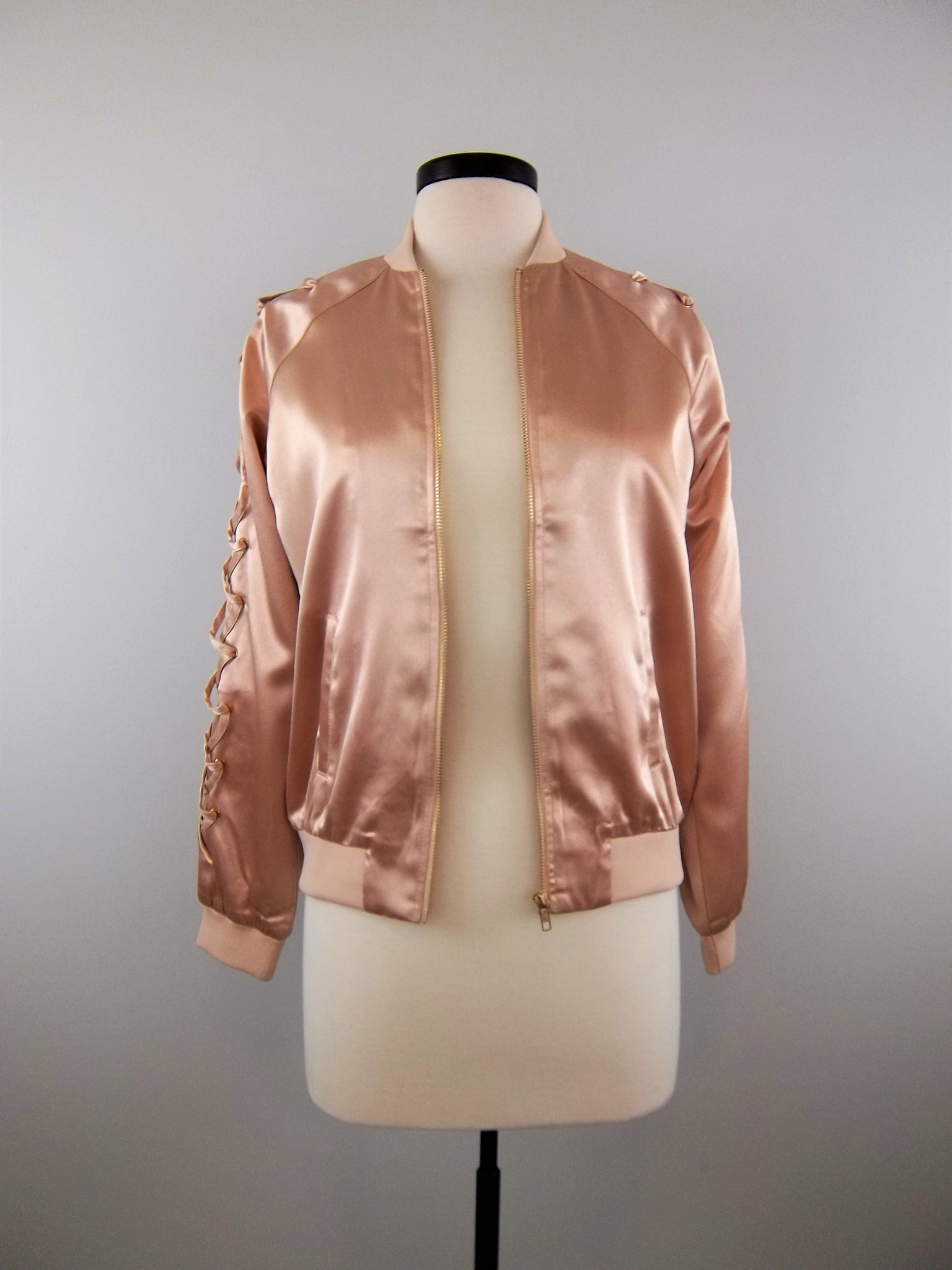 Waiting On This Moment Satin Bomber Jacket