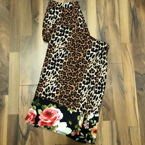 Cheetah Lounge Pant with Floral Hem