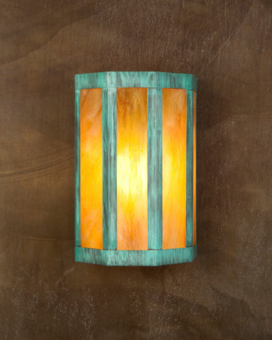 Wall Sconce-WS-GL, Green patina, Iridescent glass