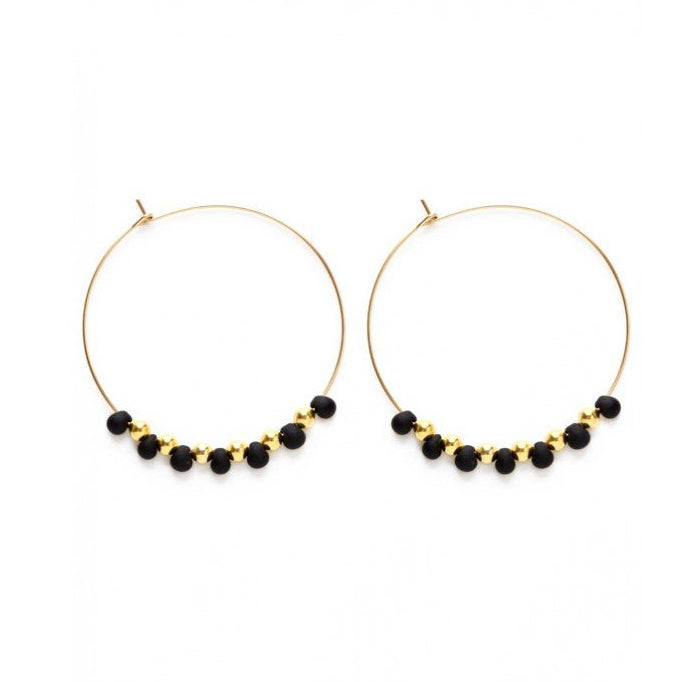 Amano Studio Baya Hoop Earrings - Black with Gold Hoops