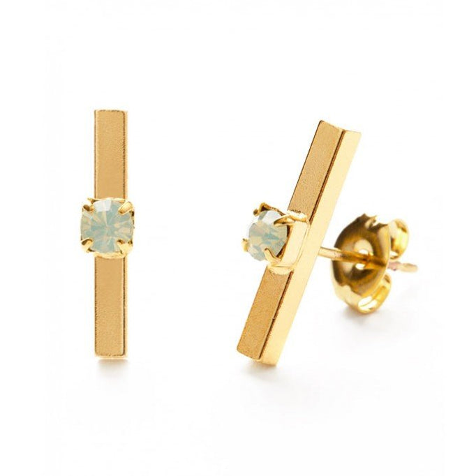 Amano Studio Gold Bar with Opal Studs - Crystal