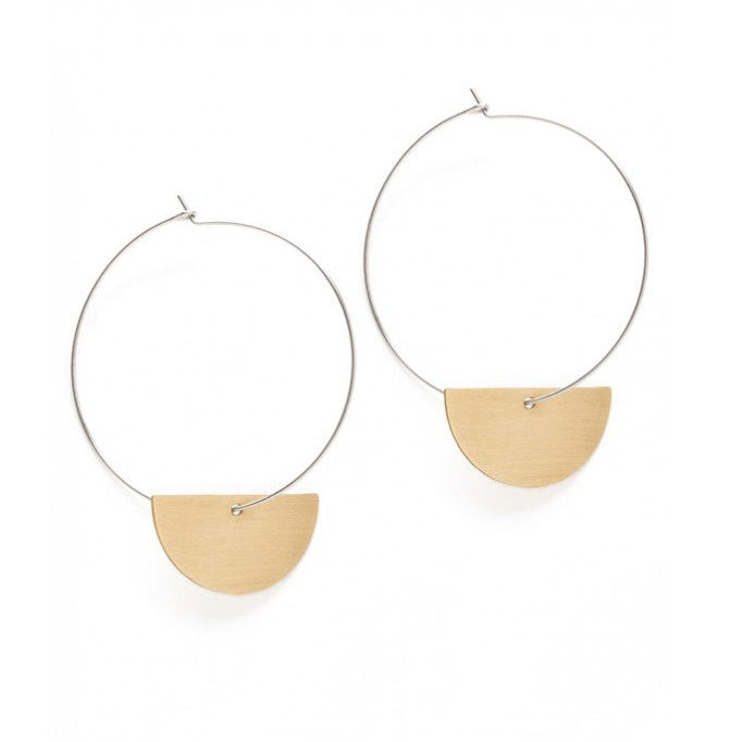 Amano Studio Luna Hoop Earrings - Sterling Silver with Brass