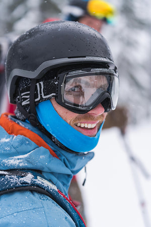 Co-owner of Lithic Skis, Paul Roberts smiling on a solid pow day.