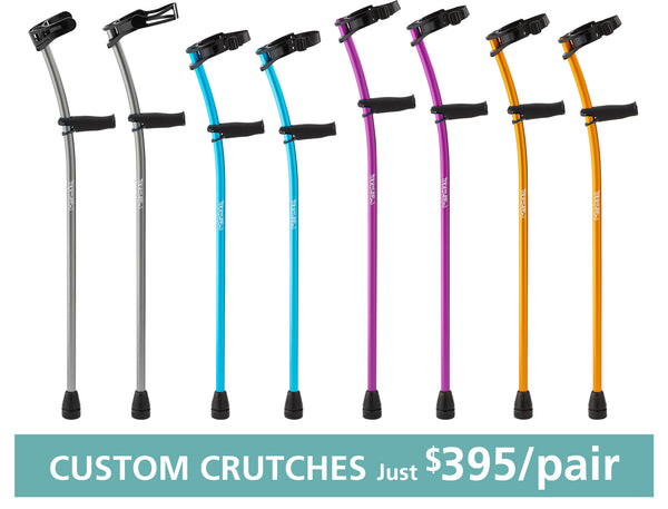 Self-Assembled Euro-Style Aluminum CUSTOM-FITTED Forearm Crutches for Kids