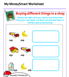 Money worksheet to help children (Ages 6 to 7, Key stage 1, Grade 1) recognise and add up British coins to buy items in a shop