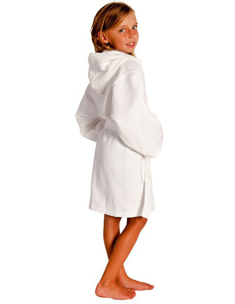 100% Turkish Cotton Hooded Waffle Diamond Robe for Kids - White, Kid's Robe