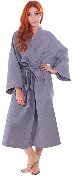 Bridesmaids Waffle Monogrammed Floor Length Cheap Bathrobe in Bulk  - Gray, Terry Cloth Robes