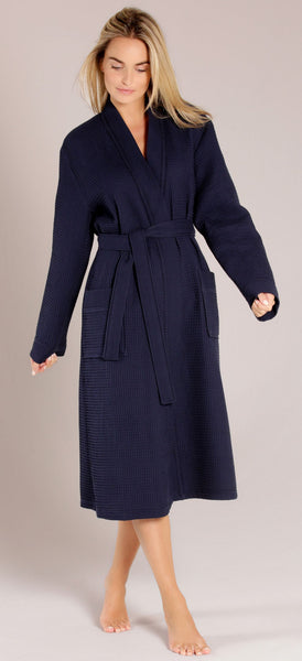 Cotton Waffle Weave Kimono Bathrobe Wholesale - Navy Blue, Terry Cloth Robes