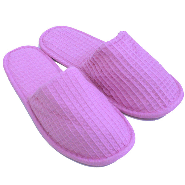 Wholesale Waffle Closed Toe Adult Slippers Non-Skid Sole Inexpensive - Lilac, Slippers