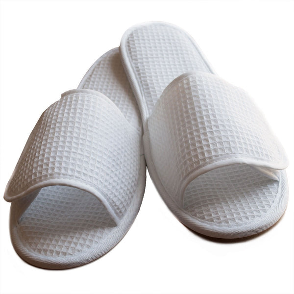 Wholesale Waffle Slippers Open Toe with Velcro Closure - White, Slippers
