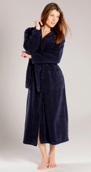 Women's Full Length Hooded Terry Velour Robe - Navy Blue, Terry Cloth Robes