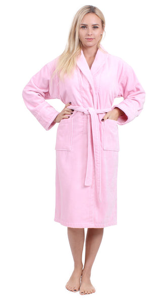 Women's Soft Luxurious Cotton Velour Shawl Collar Robe - Pink, Terry Cloth Robes