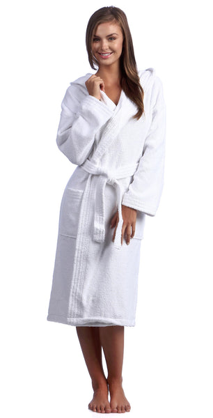 Women's Turkish Terry Cloth Robe with Hood Wholesale - White, Terry Cloth Robes