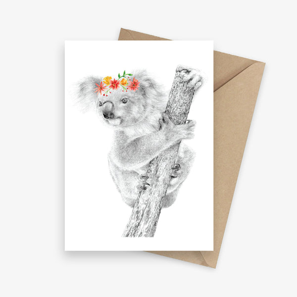 Greeting card featuring an Australian native koala with a flower crown.