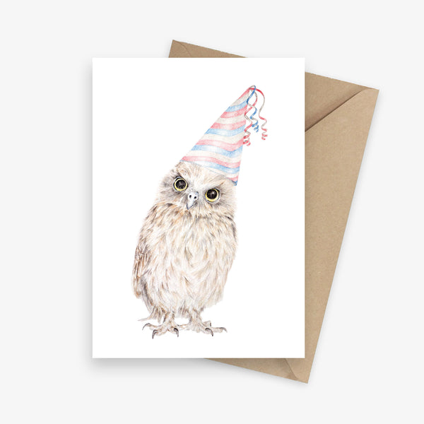 Funny birthday card featuring an owl with a party hat.