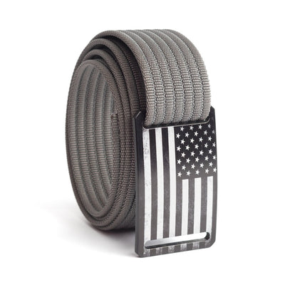 Kids' USA Black Flag Buckle GRIP6 belt with Grey strap swatch-image