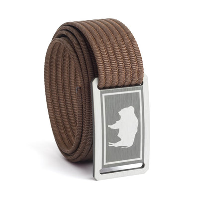 Kids' Wyoming Flag Buckle GRIP6 belt with Mocha strap swatch-image