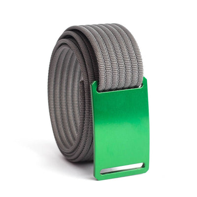 GRIP6 Belts Men's Narrow Classic Moss (Green) buckle with Grey Strap swatch-image