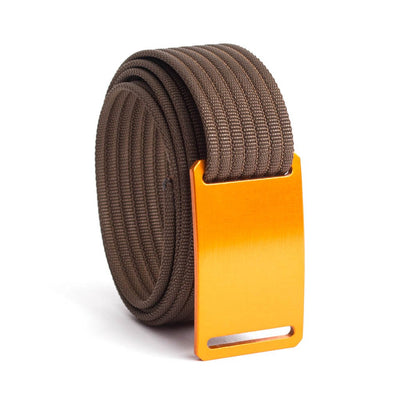 GRIP6 Belts Kids Classic Foxtail (Orange) buckle with mocha strap swatch-image