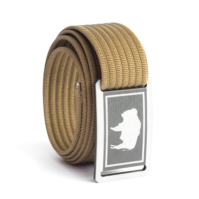 Kids' Wyoming Flag Buckle GRIP6 belt with Khaki strap swatch-image