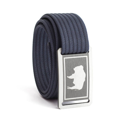 Kids' Wyoming Flag Buckle GRIP6 belt with Navy strap swatch-image