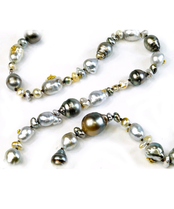 South Sea and Tahitian long pearl necklace