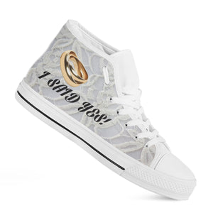"""I Said Yes"" Gold Bands Bachelorette Party High-Top Shoes"