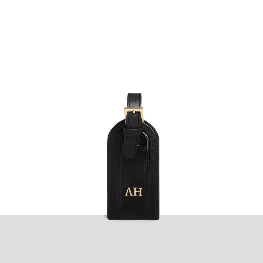 Black Smooth Luggage Tag