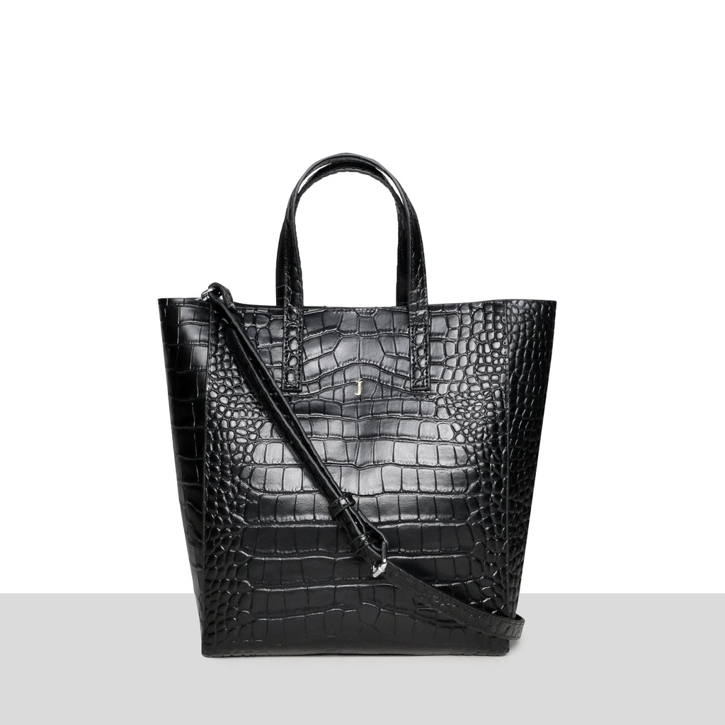 Seoul Shopper in Black Croc