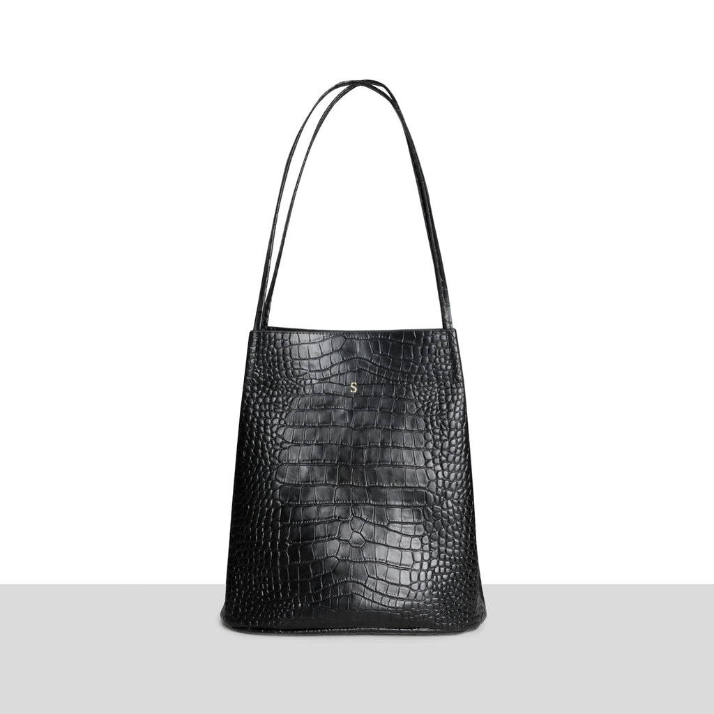 Sofia Tote in Black Croc