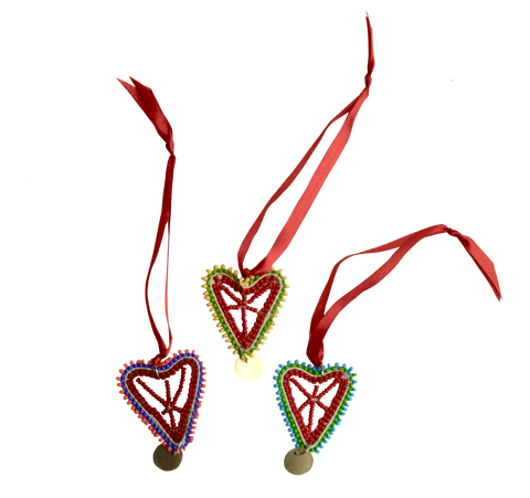 Kenyan Beaded Mini Heart Ornament