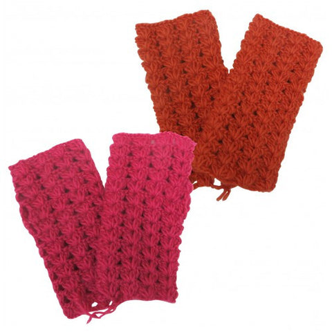 Crocheted Himalayan Fingerless Mittens