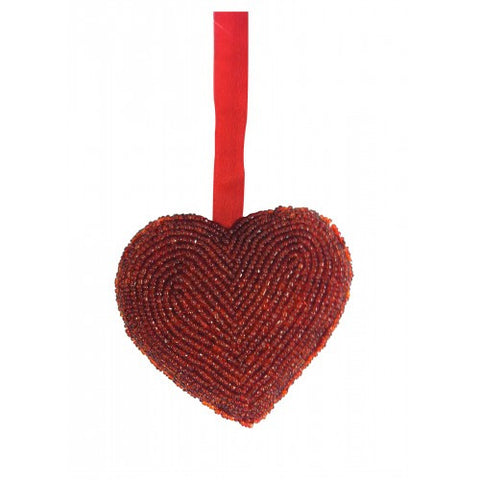 Glass Beaded Heart Ornament