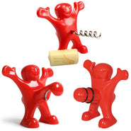 3pcs Happy Man Wine Corkscrew, Bottle Stopper & Beer Bottle Opener Set
