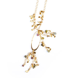 Reef Necklace - 18K yellow Gold with semi precious stones.  -Come in a designer box