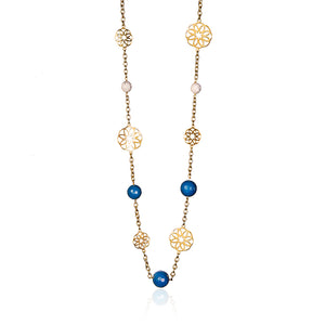 Sand Rose Necklace - Gold-plated silver comes  Blue and white agate stones