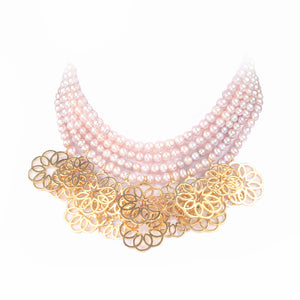 Sand Rose Layers Necklace - Gold-pleated silver   Multi sand roses with multi-layered pink pearls