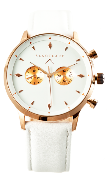 Davos White Classic / Rose Gold & White - Sanctuary Luxury Watches
