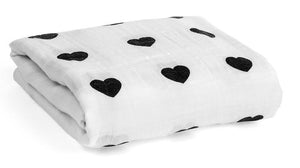 ORGANIC COTTON MUSLIN SWADDLE BLANKET - Heart
