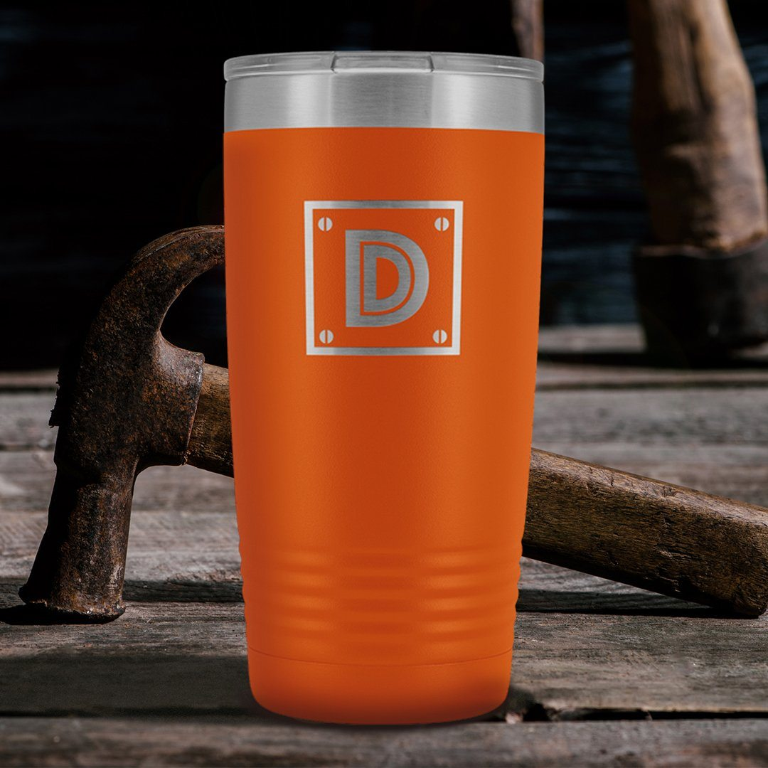 "Monogram ""D"" Insulated Travel Tumbler • Rivet Design"