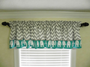 Window Valance- Gray Chevron with Elephants and Teal