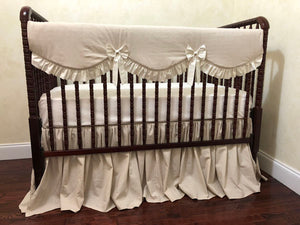 Linen Crib Bedding Set - Gender Neutral Baby Bedding, Girl Crib Bedding, Crib Rail Cover Set