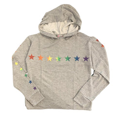 Flowers by Zoe Rainbow Star Grey Hoodie Sweatshirt