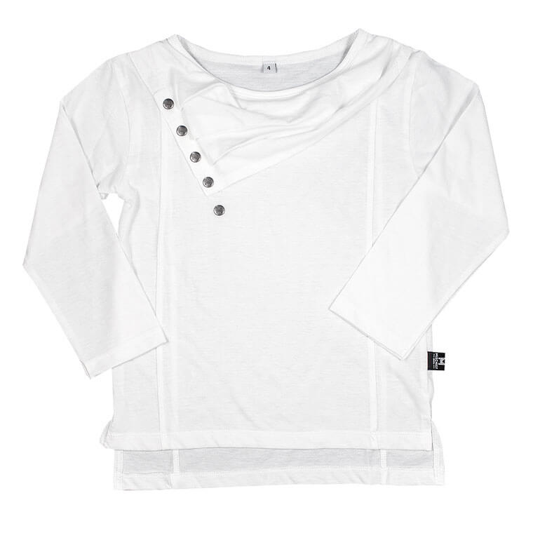 The Cluster - Luxe Straight Hem Tee - Pearl White